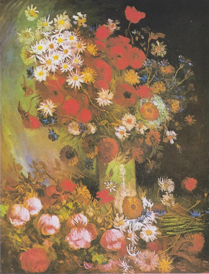 ポピー、矢車菊、シャクヤクと菊と花瓶